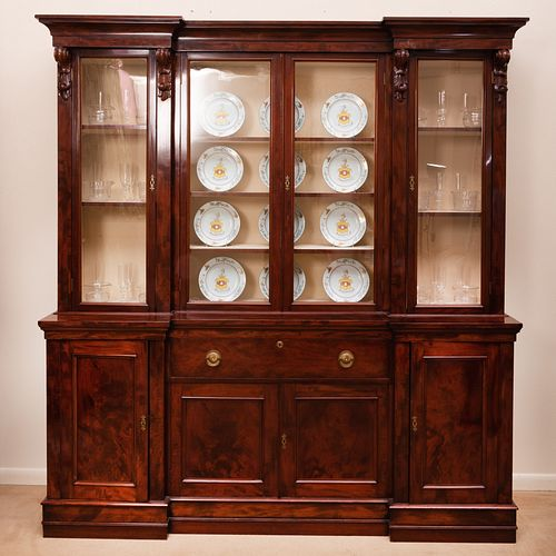 William IV Carved Mahogany Breakfront Bookcase
