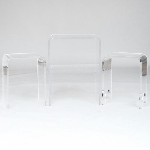 Two Millicent Zahn Small Lucite Telephone Tables on Casters