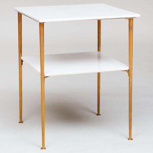 Modern Brass-Mounted White Marble Two Tier Table