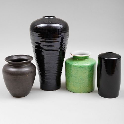 Group of Four Contemporary Porcelain and Earthenware Vases