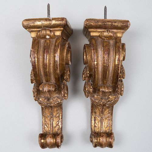 Pair of Régence Style Giltwood Brackets