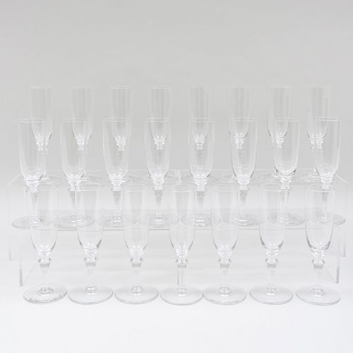 Group of Twenty-Two Baccarat Glass Champagne Flutes