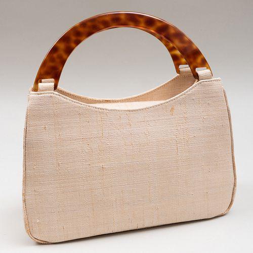 Yves Saint Laurent Haute Couture Cream Fabric and Composite Handbag