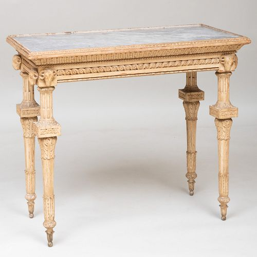 North Italian Neoclassical Gray Painted Console Table, Probably Turin