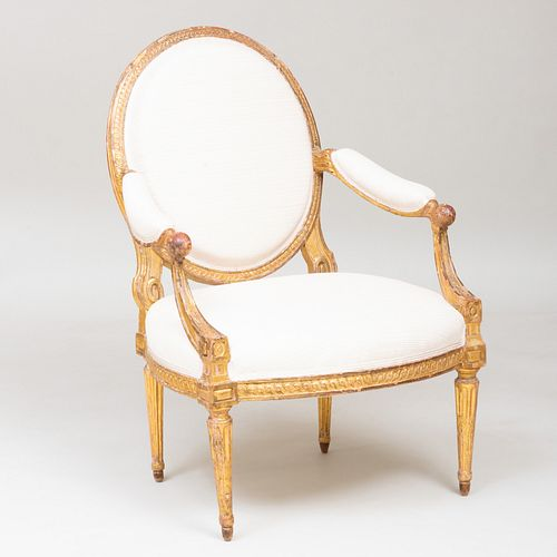 Louis XVI Giltwood Fauteuil à la Reine, Possibly Swedish