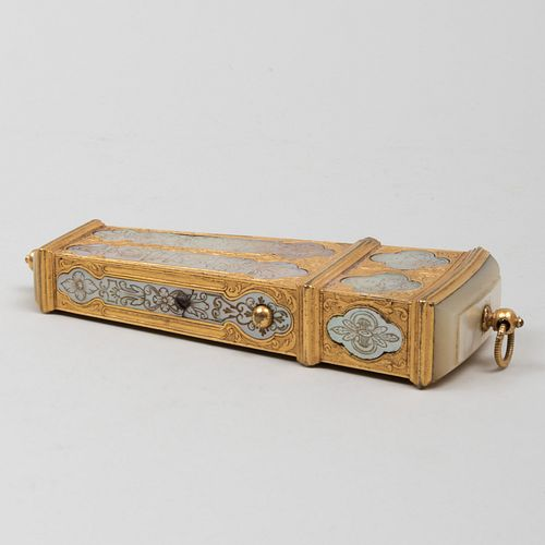 Continental Mother-of-Pearl Inlaid Gilt-Metal Wedge Shaped Necessaire