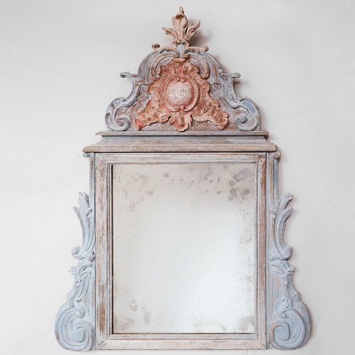 Louis XIV Style Provincial Painted Mirror