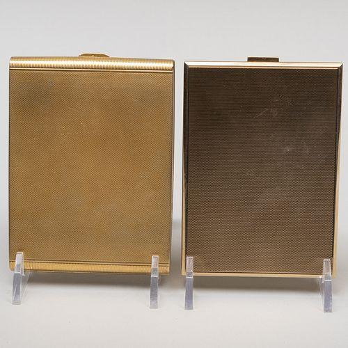 Austrian Engine Turned Silver-Gilt Cigarette Case and Continental Gold Cigarette Case