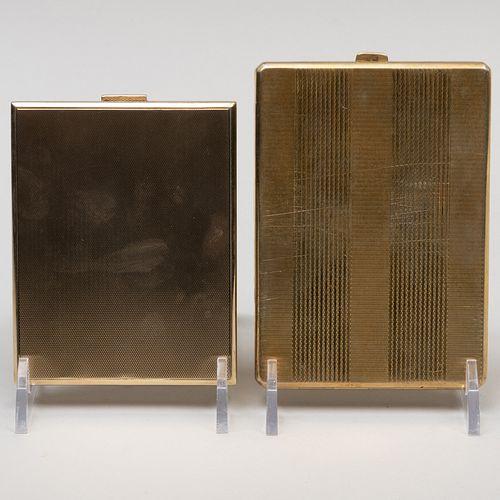 Austrian Engine Turned Silver Gilt Cigarette Case and Continental Gold Cigarette Case