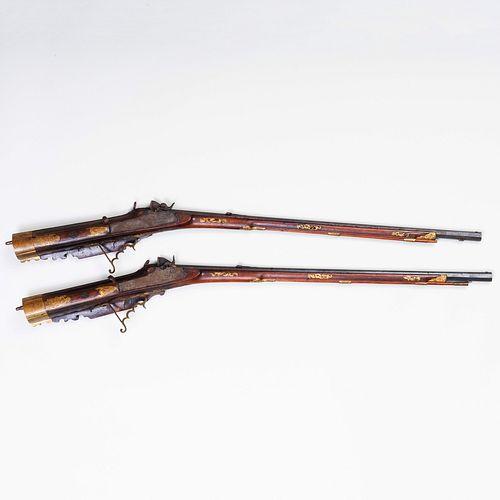 Rare Pair of Austrian Percussion Back-Striking Target Rifles Converted from Flintlock by Vincenz Neumann a Leoben