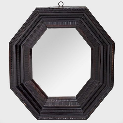 Flemish Baroque Ebonized Octagonal Mirror