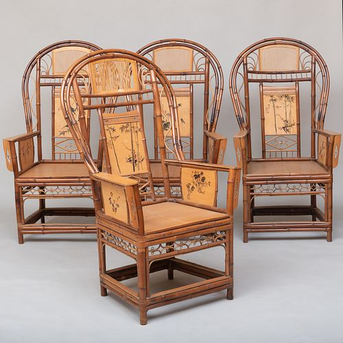 Set of Four Large Chinese Bamboo and Painted Armchairs