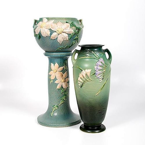 Roseville Pottery Jardiniere And Floor Vase By Cowan 39 S Auctions