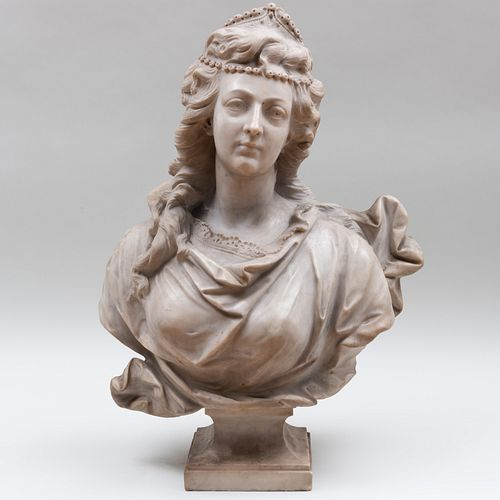 Italian Carved Marble Bust of a Lady