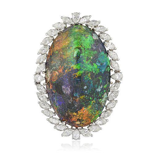 Opal and Diamond Pendant/Brooch