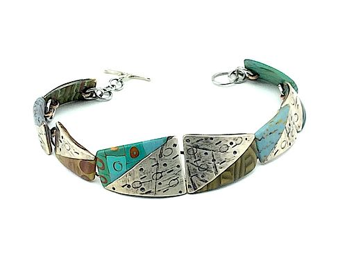 Silver and Polymer Linked Bracelet  Turquoise