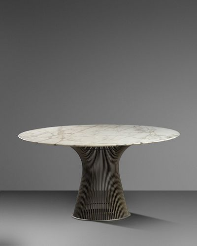 Warren Platner (American, 1919-2006) Dining Table,with Original Marble and Walnut Tops,Knoll, USA