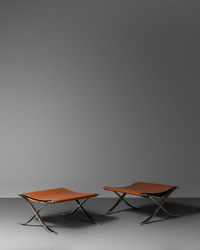 Ludwig Mies van der Rohe(German-American, 1886-1969)Pair of Barcelona Ottomans