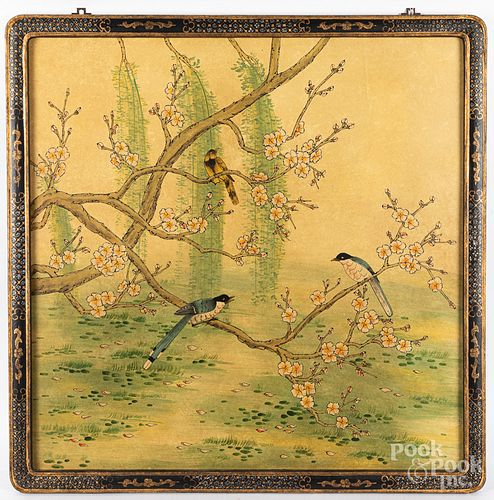 """Chinese watercolor panel, 35"""" x 35""""."""