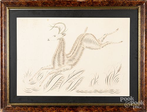 Calligraphy drawing of a leaping stag