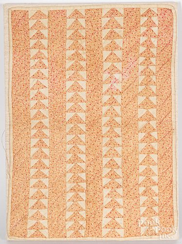 Flying geese doll quilt & hooked panel