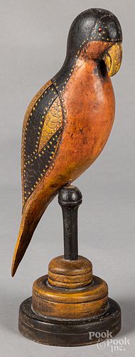 Folk art carved parrot, 20th c.