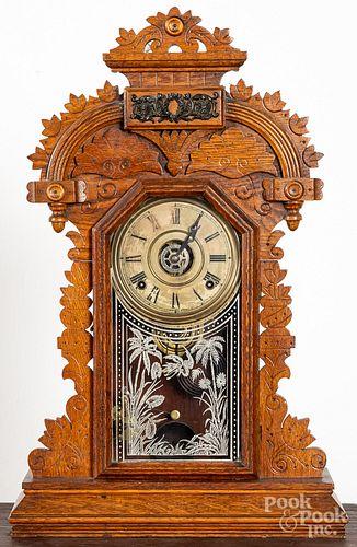 Ingraham oak gingerbread clock