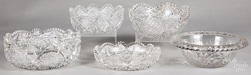 Five cut glass bowls
