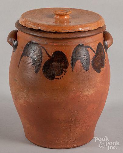 Pennsylvania redware lidded crock, 19th c.
