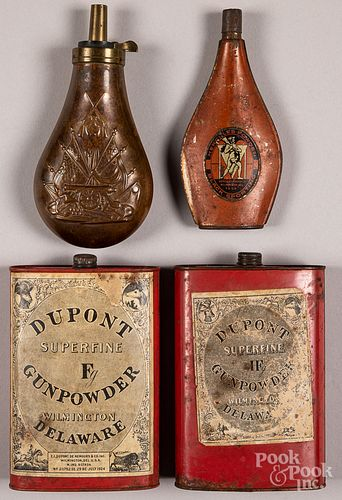 Two Dupont powder tins and powder flask & two other flasks