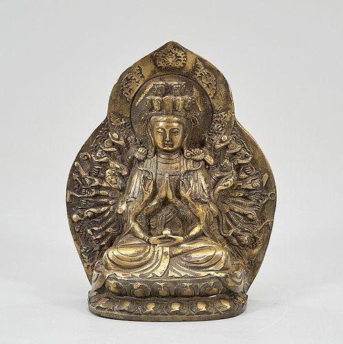 Southeast Asian Gilt Bronze Seated Thousand-Armed Buddha