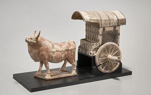 Tang Dynasty Pottery Ox and Cart