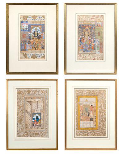 A SET OF FOUR MUGHAL ILLUMINATED MANUSCRIPT FOLIOS SHOWING COURT SCENES BY HAIDAR KASHMIRI, CIRCA 1600