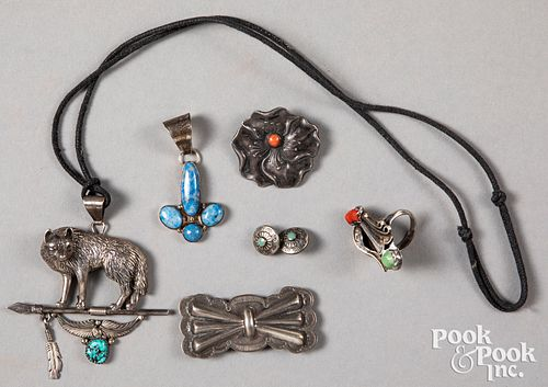 Silver and turquoise Navajo Indian jewelry