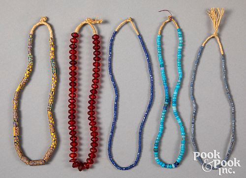 Five strands of Native American Indian trade bead