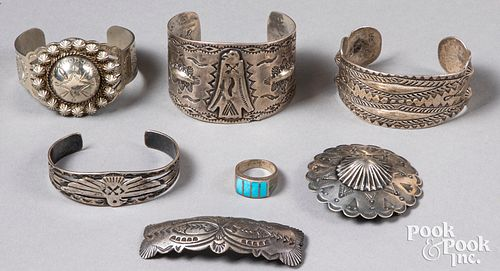 Group of Native American Indian silver jewelry