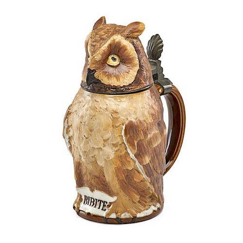 METTLACH OWL CHARACTER STEIN