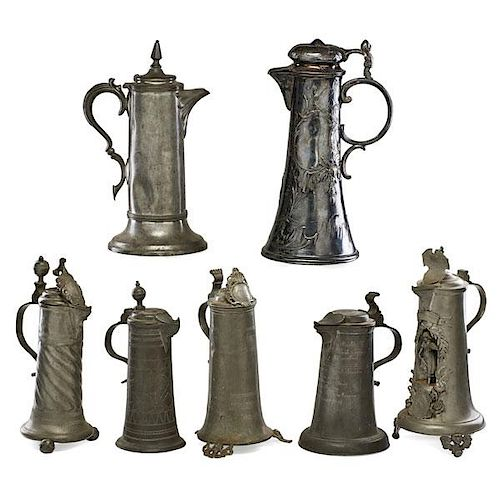 GROUP OF CONTINENTAL PEWTER STEINS