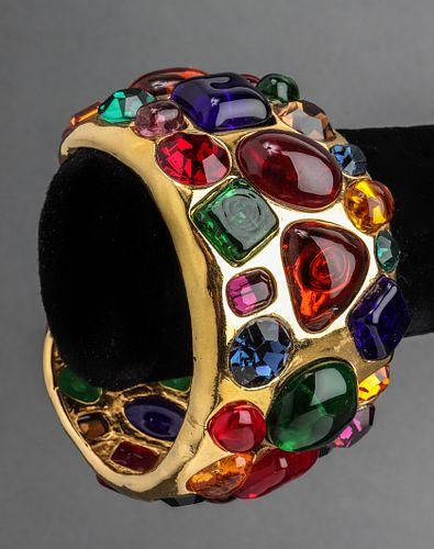 Chanel Gold-Tone, Gripoix & Crystal Cuff Bracelet