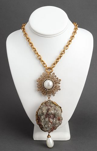 Chanel Druzy Quartz Pendant Necklace, c. 1960