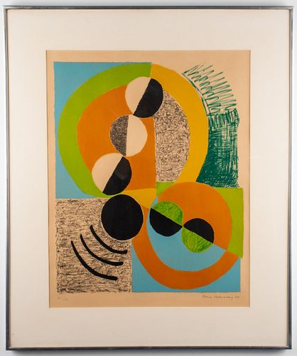 Sonia Delaunay Abstract Lithograph in Colors, 1969