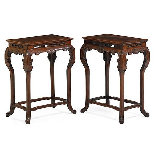 PAIR OF CHINESE HUANGHUALI SIDE TABLES