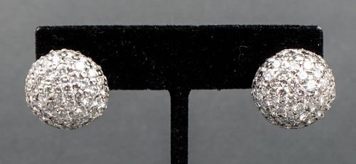 Vintage 14K White Gold Dome Pave Diamond Earrings