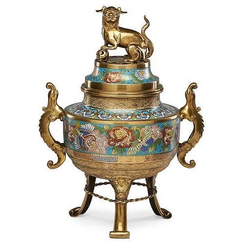 CHINESE BRASS AND CLOISONNE CENSER