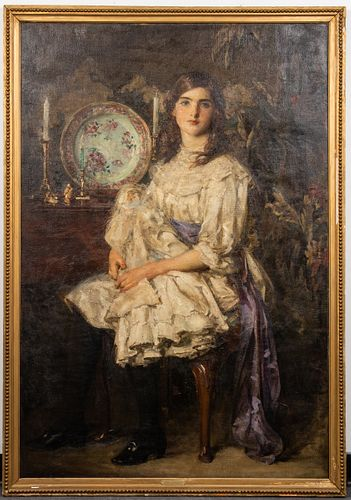 "Mouat Loudan ""Phyllis and Her Doll"" Oil on Canvas"
