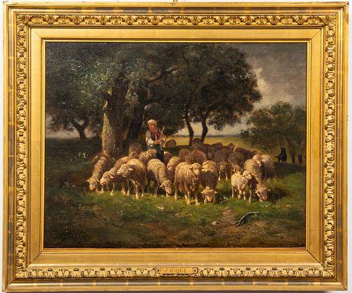 "Charles Emile Jacque ""The Shepherdess"" Oil"