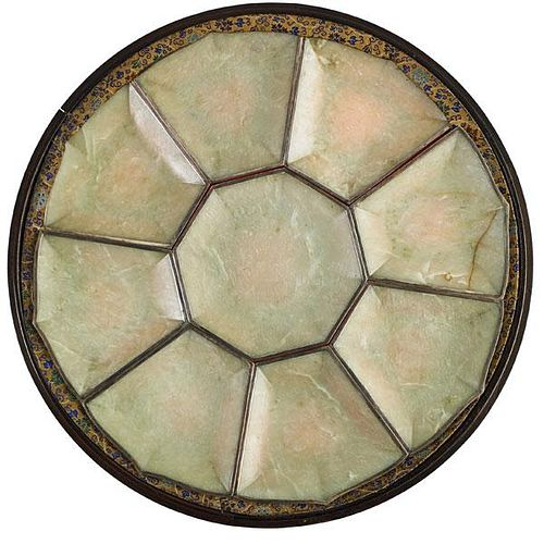 CHINESE EXPORT SILVER MOUNTED HARDSTONE TRAYS