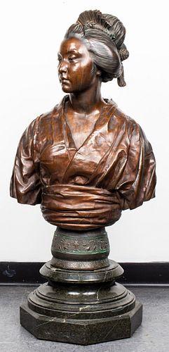 Émile-Louis Truffot Large Bronze of Japanese Woman