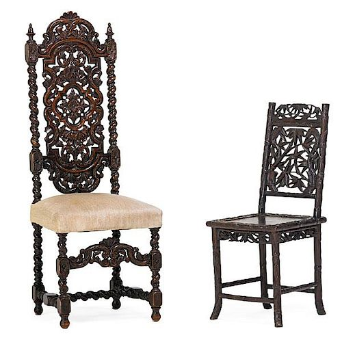 BAROQUE STYLE HALL CHAIR AND CHINESE CHILD'S CHAIR