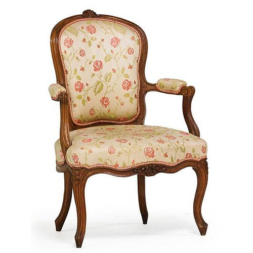 LOUIS XV WALNUT ARMCHAIR